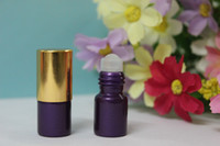 Wholesale 10PCS SMALL ML PURPLE EMPTY PERFUME ROLL ON ROLLER BALL GLASS BOTTLE