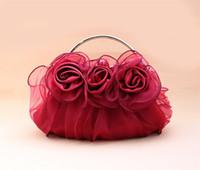 Satin sac à main d'embrayage Parti en gros-Mode Bourgogne Ladies nuptiale sac de soirée sac de maquillage Purse Livraison gratuite