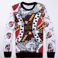 Wholesale 2015 New Harajuku Playing cards print d Sweatshirt women men hip hop hoodies outdoor clothes sudaderas plus size M XXL