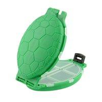Wholesale 12 Compartments Tortoise Shape Plastic Turtle Fishing Lure Baits Hooks Tackle Box Pocket