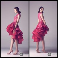 berry prom dress - New Berry Short Prom Dress Hi Low Lace Ruffles Knee Length Organza See Through Prom Dresses Jewel Neck Vestido De Festa Curto Evening Gowns