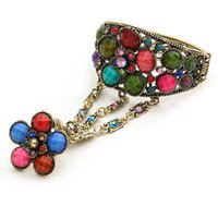 Wholesale 2014 hot sale new fashion Vintage Folk Style Crystals Flowers Bracelet Ring