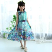 Wholesale HOT Summer Mother and Daughter Clothes Girls Bohemia Dress Cotton Chiffon Long Family Beach Dress Clothing With Tippet Flower Dresses