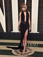 Wholesale 2016 Sexy Taylor Swift Oscar Party Celebrity Dresses Red Carpet Dresses Black Sheath V Neck Split Chiffon Cheap Evening Gowns Prom Dresses