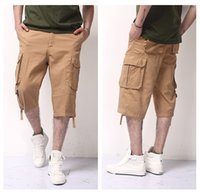 Wholesale Men s Cotton Climbing Pants And Legs Loose Multi Pocket Cargo Shorts Color L XL Camping Hiking Shorts