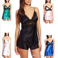 best cotton nightgowns - best selling Plus size XL XXL XXXL XXXXL sexy black lace two piece set with shoulder straps women nightgown braces set