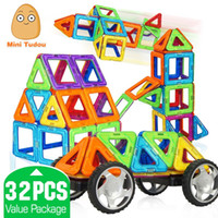 Wholesale Minitudou Kids Toys Educational Magformers Magnetic Toy Triangle Square Hexagonal D DIY Building Blocks