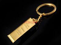 achat en gros de lingots gros-200pcs / lot Alliage sans Bullion Zinc gros port en forme de porte-clés en métal Nouveauté Gold Bar Porte-clés porte-clés