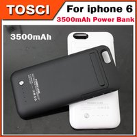 Wholesale 3500mAh mAh Power Bank Back Outer Jacket Battery Case cover Phone Stand for iPhone s c s Samsung S6 S6 Edge With Retail package