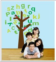apple wallpapers - DIY removable home decoration wall stickers home decals vinyl wallpaper apple tree English alphabet for kids rooms