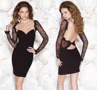 Wholesale Tarik Ediz Sexy Sheer Long Sleeves Deep Open Back Sweetheart Fitted Bodice Little Black Cocktail Dresses Short White Party Gown For Women