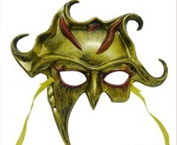Wholesale Halloween mask masquerade party mask bar demon helios half face mask with colors