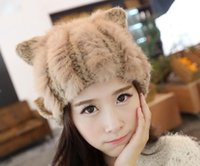 Wholesale Fashion Women Girls Ladies Rabbit Fur Warmer Ear Stretch crochet Hat Cap for Christmas gifts