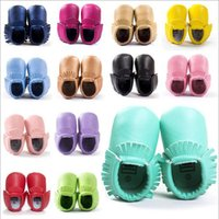 Wholesale Baby shoes Pairs baby moccasins girls bow moccs Top Layer soft leather moccs baby booties toddler shoes color size choose