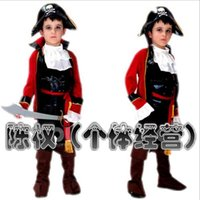 Wholesale Retail Children Boys halloween Chirstmas pirates Jack captain cosplay costumes Boys Pirate captain jack clothes suit for kids HC49