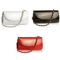 Wholesale 2015 Fashion Designer Crocodile Pattern Ladies Shoulder Chain Bag Wallet PU Leather Clutch Evening Bag Purse for Women Handbag
