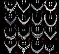 Wholesale 16 Style Bridal Wedding Party Crystal Rhinestone Pendant Necklace Earrings Jewelry Sets Bridal Jewelry Accessories