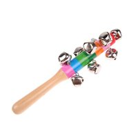 Wholesale Cute Rainbow Baby Toy Pram Crib Handle Wooden Bell Stick Shaker Rattle K5BO