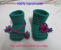baby bootees - handmade Baby wool shoes ankle strap ties baby bootee for to months babies baby crib shoes dark green