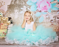 aqua balls for sale - NEW Hot Sale party dresses for year old girls rosette dress satin a line tulle children junior aqua blue flower girl dresses