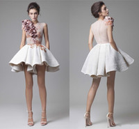 beautiful flowers pockets - 2016 Beautiful Krikor Jabotian Prom Dresses Illusion Bodice Cap Sleeves Lace Satin White Short Evening Dresses Sexy Party Gowns With Pocket