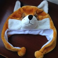 Wholesale Short Style Fox Plush Hats Funny Winter Warm Animal Cap Black Ear Orange Fox Toy Caps Warm and Lovely