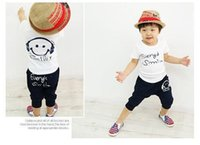 baby blue headphones - Baby Boys Girls Casual suits Fashion Kids Smiley Headphones T shirt Pants piece suit children clothing suit C001