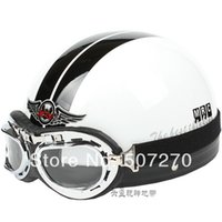 abs grating - A ABS portable type off road CasqueHalf Face Casco Motorcycle Bright White grating Helmet amp Clear Glasses SIZE M L XL