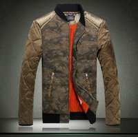 Wholesale 2014 Winter Newest Fashion Mens Stylish Camouflage Joining Down Coats High Quality Stand Collar Casual Sports Slim Fit Down Coat M XXXL