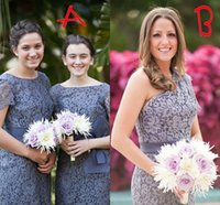 lace bow - Romantic Grey Lace Bridesmaid Dresses One Shoulder A Line Applique Zipper Back Short Bridesmaid Dress Cheap Tiered Bow Under
