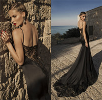 Cheap 2015 Galia Lahav Black Mermaid Valentino Dresses Evening Wear Spaghetti Straps Backless Lace Appliques Court Train Plus Size Prom Party Gown