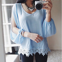 Cheap 2015 Sexy Women shirt Casual Sheer Full Sleeve Lace Crochet Chiffon Shirt Top Ladies Blue Blouse S M L XL free shipping