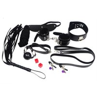 Wholesale 151204 Set Play Sex Toys Whip Rope Mouth Stuffed Nipple Clamps Mask Under the Bed Restraint Systems