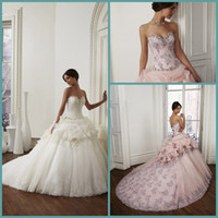 Wholesale 2015 Wedding Dresses New Arrival Stunning Amazing Vintage Princess Retro Sweetheart Lace Ruffle Hand Made Flower Sweep Train Ball Gown