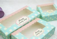 bakery box window - 10pcs hot sell blue Polka dots bakery package Box clear window Wedding Party Favor cupCake Macaron candies Packaging Gift Box