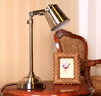 Wholesale The European United States Rural Art Table Lamp The Archaize Sitting Room Study Desk Lamp Retro Bronze Metal Reading Lamp Of Bedroom A5