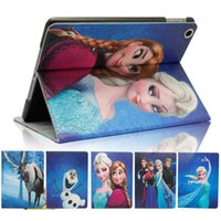 Wholesale For iPad air mini Cute Frozen Elsa Anna Princess Flip Cartoon Leather Case Cover with Kickstand Stand Folding