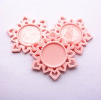 bathroom settings - Lovely Baby Pink Snowflake Resin Base Setting MM Flatback Planar Settings Fit for MM Round Glass Cabochons