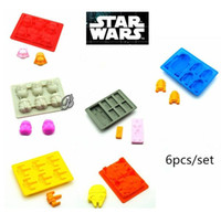 Wholesale Star Wars Ice Tray Set Chocolate Molds Food Silicone Moulds Cube Darth Vader Storm trooper X Wing R2D2 Sets Christmas Gifts Factory price