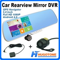 Wholesale 5 inch Android Car DVR Rearview Mirror Capacitive GPS Navigation Newest GB Maps MB WiFi FM AVIN Full HD P DVR Dual Camer