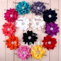 hair sparkle - Fabric Lotus Leaf Flower For Baby Winter Flower With Sparkle Rhinestone Button Center Hair Accessories quot Colors IN STOCK