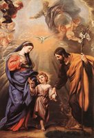 angels madonnas - Beautiful Oil painting Holy Family Madonna with Christ angels bird canvas