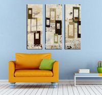 arts innovation - 3 panel wall decor modern art set Extremely Innovation Abstract Doors and windows hand painted Oil Painting on Canvas for hotel