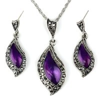 antique diamond earrings - Euramerican Style Diamond Shining Top Quality Antique Personality Amaranth Necklace Earrings Suit for Women For One Set