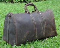 leather duffel bags - Big tote bag vintage style men genuine leather large luggage sports duffle gym bag shoulder tote handbag travel bag Travel package