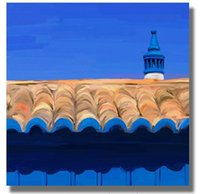 architecture artwork - blue navy beige beautiful architecture detail Oil Painting on Canvas Artwork wall art modern pictures for home decoration