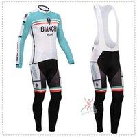bianchi - New Team Bianchi Winter Thermal Fleece Cycling Clothing Bike Cycling Jersey Long Sleeve Jersey Bib Pants Set Bianchi