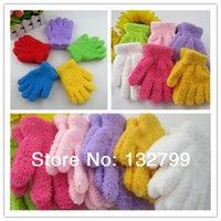 fleece gloves - Baby Kids Mittens Gloves Coral Fleece Children Warm Winter Five Finger Gloves Gifts Candy Color