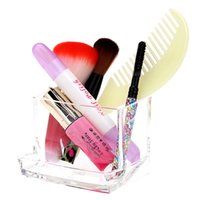Wholesale Fashion Transparent Crystal Acrylic Cosmetic Cotton Swab Q tip Storage Holder Box Makeup Carrying Case H14317