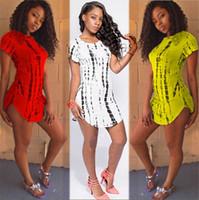 plus size club dresses - Plus Size S XXL Summer Arc Hem Women t shirt Casual Dress Stripe Printed Cropped Side Slit Cotton Short Yellow Club Party Dresses SJ6051